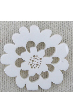 large flower brooch white