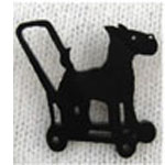 dog on wheels brooch small