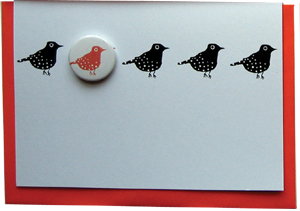 large badge card black bird line