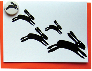 large badge card black rabbits