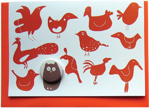 large badge card red birds