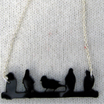 small bird line necklace