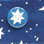 badge greetings card stars and moon
