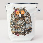 handmade illustrated zip purse