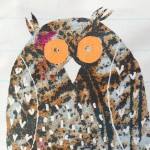 printed owl zip cosmetic purse