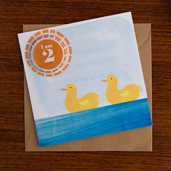 handmade birthday badge card with two ducks