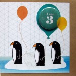 penguins birthday card age 3