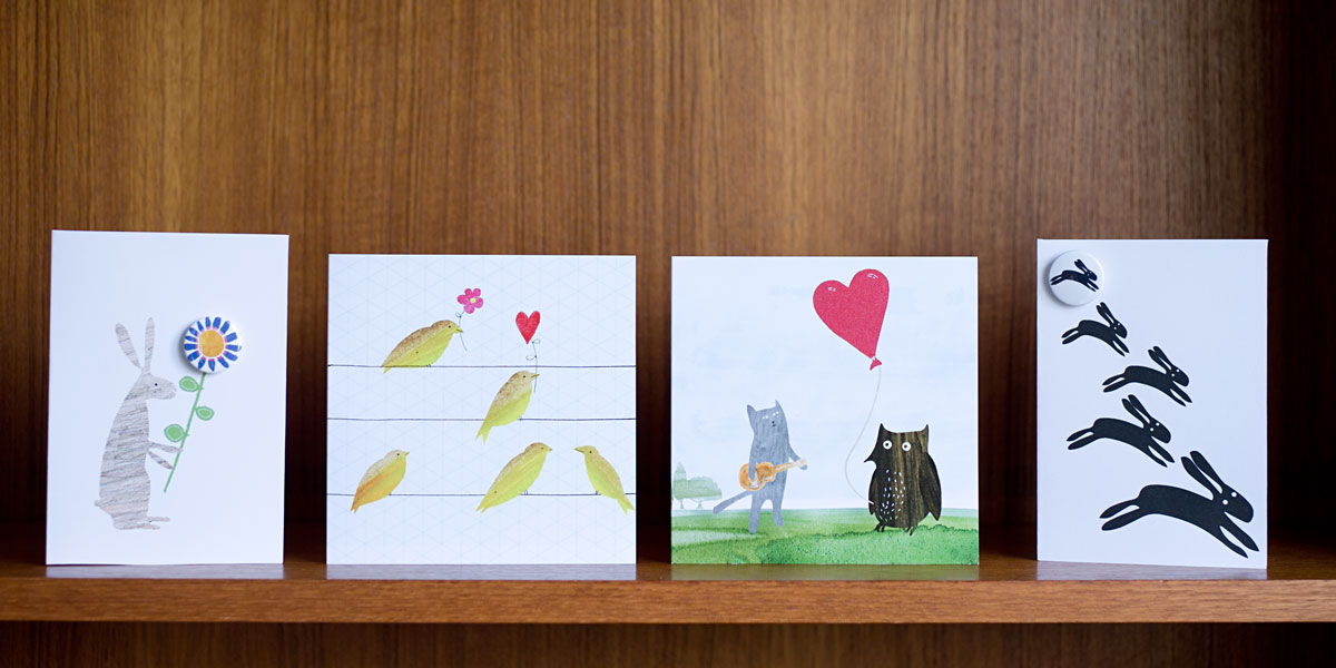 The Black Rabbit - Greetings cards with badges