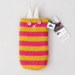 handmade knitted wool phone cover cosy by the black rabbit
