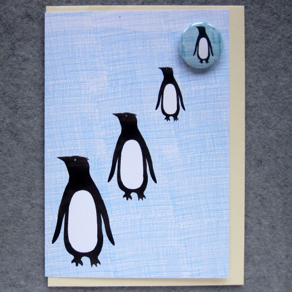 illustrated penguins badge card