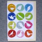 birds badge greetings card with inky spots
