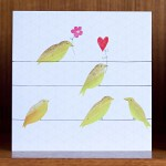birds finches heart and flowers card