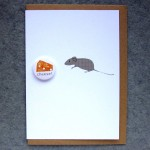 cheese and mouse badge greetings card