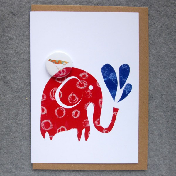 red elephant badge card