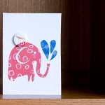 elephant and bird badge card