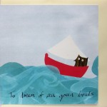 owl at sea greetings card
