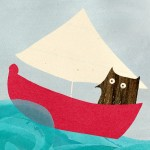 sailing owl seaside greetings card