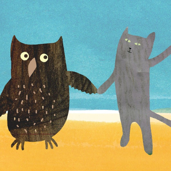 owl and pussycat seaside greetings card