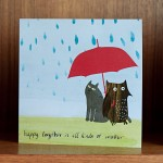 owl and cat umbrella greetings card