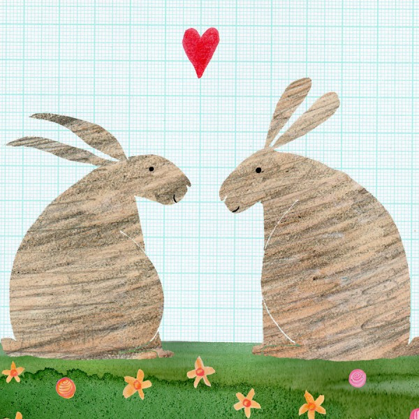 Illustrated rabbits anniversary card
