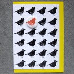 birds birthday card with badge