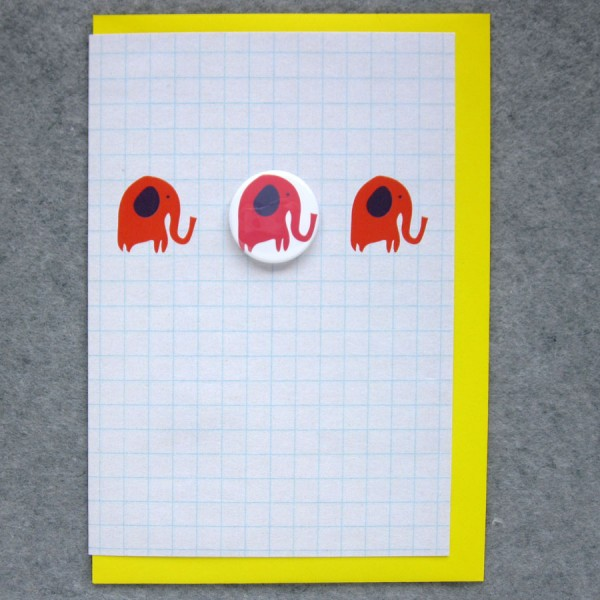 birthday card with elephant badge
