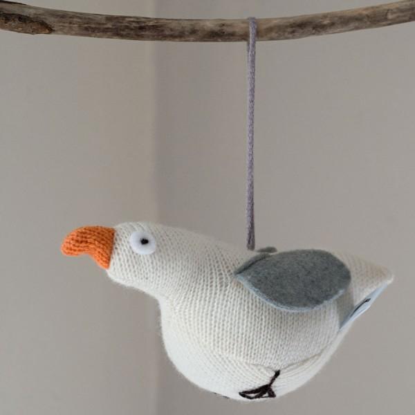 handmade knitted seagull lavender bag