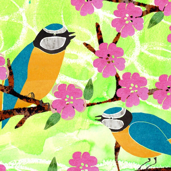 birds and flowers greetings birthday card