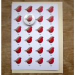 handmade badge illustrated greetings card with robins