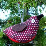 handmade knitted lavender robin christmas decoration