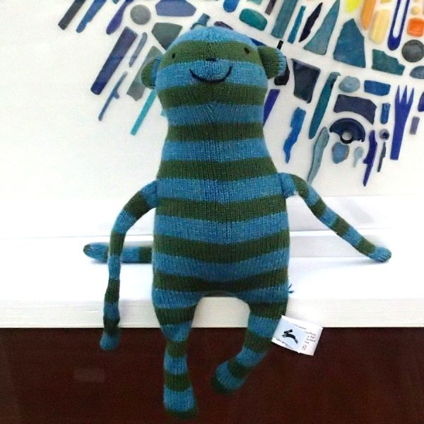 handmade knitted toy monkey by the black rabbit