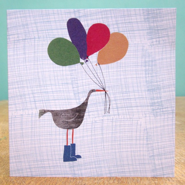 balloons and bird birthday card by the black rabbit