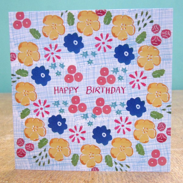 flowers happy birthday card by the black rabbit