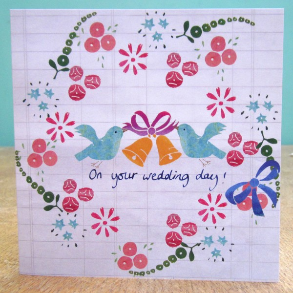 floral birds wedding greetings card by the black rabbit