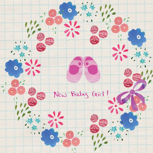 new baby girl flowers card by the black rabbit
