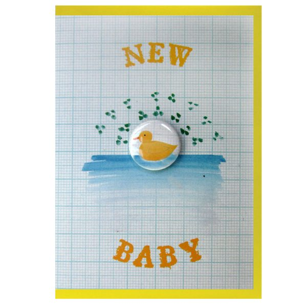 New baby duckling handmade badge greetings card by the black rabbit