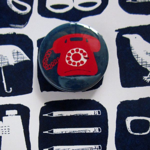 handmade badge card with telephone by the black rabbit