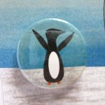 handmade badge greetings card penguins by the black rabbit