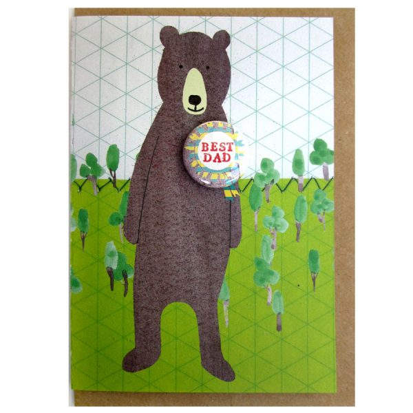 best dad bear fathers day handmade badge greetings card by the black rabbit