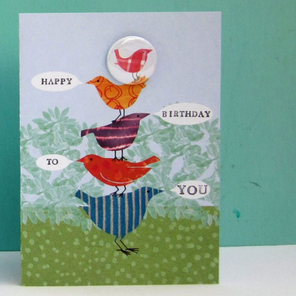 The Black Rabbit Happy Birthday Birds Badge Card Out Of Stock