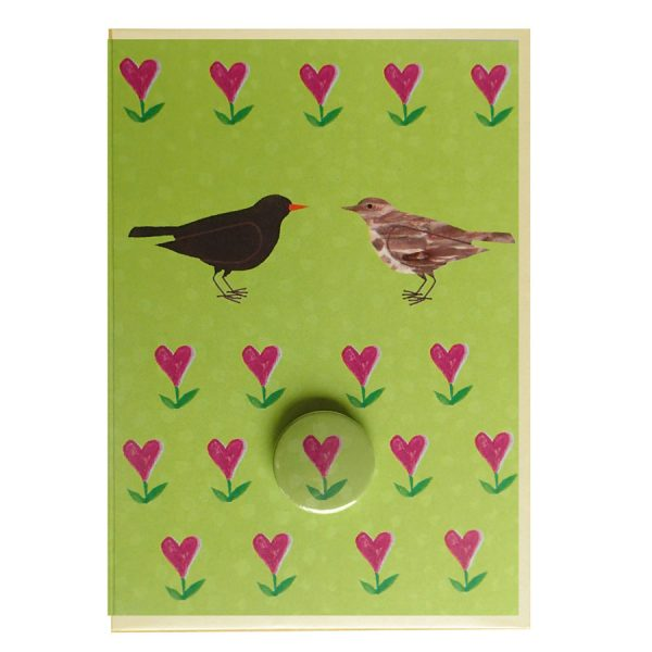 blackbirds badge handmade greetings card by the black rabbit