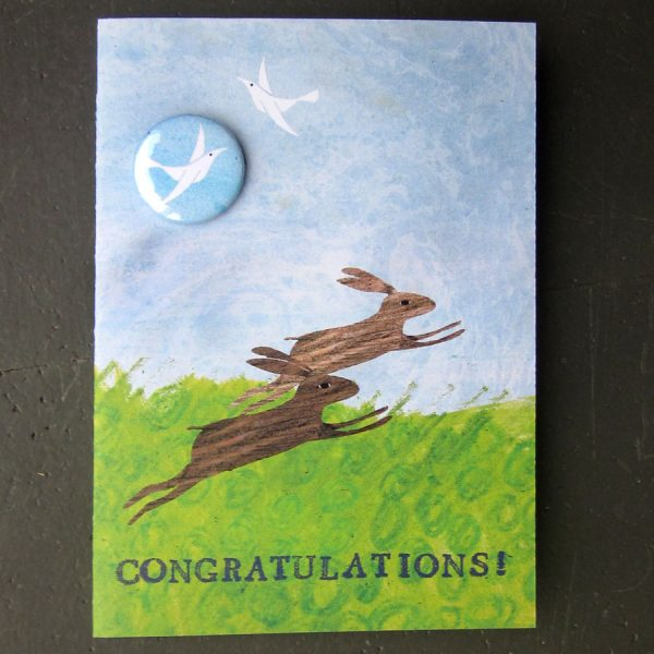 rabbits congratulations handmade badge card by the black rabbit