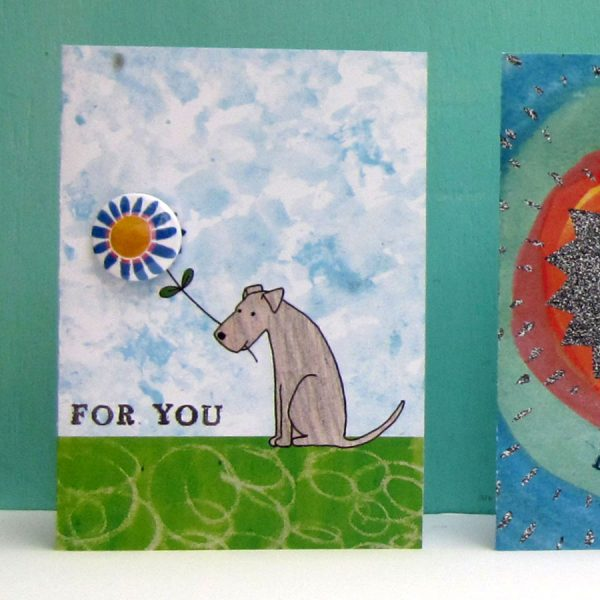 dog for you badge handmade greetings card by the black rabbit