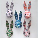 paper rabbit decorations floral print by the black rabbit