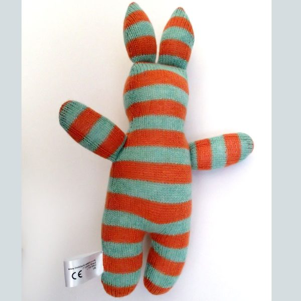 handmade knitted new baby toy rabbit by the black rabbit