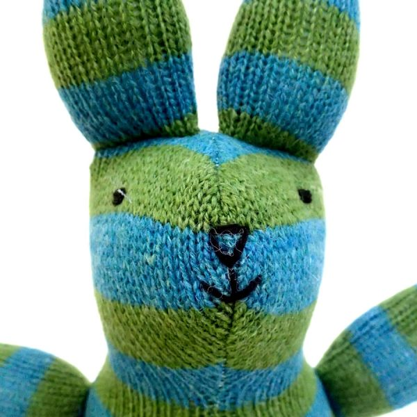 loopy lapin handmade striped knitted rabbit toy