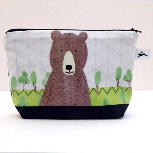 bear wash bag illustrated uk made the black rabbit