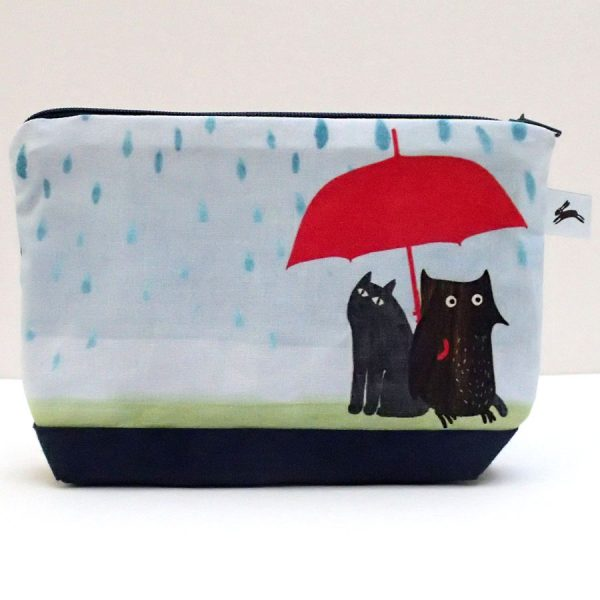 zip wash bag rainy owl the black rabbit UK handmade