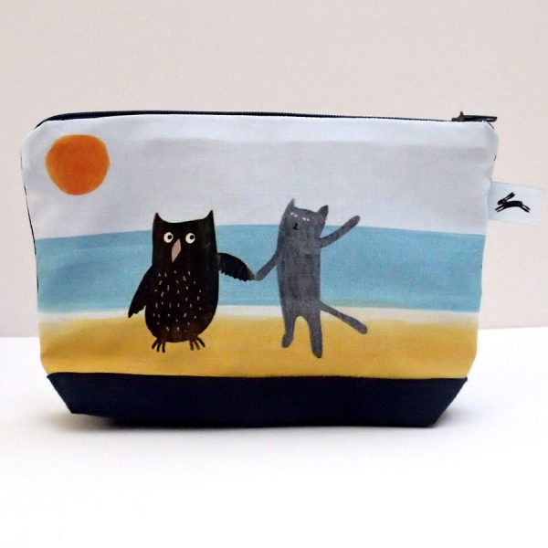 handmade zip wash bag owl pussycat the black rabbit
