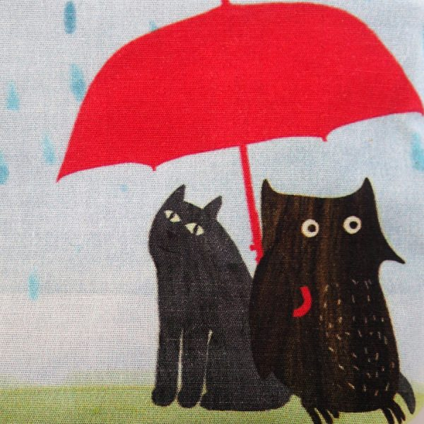zip wash bag rainy owl the black rabbit UK handmade